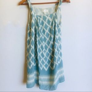 Moulinette Soeurs Teal and Cream Ikat Shift Dress